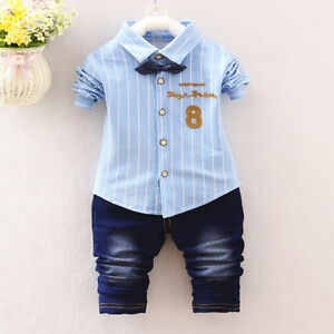 04dbf6c7006a8 2PC Kids Baby Boys Clothing Outfits Sets Shirt + Jeans Infant Boy ...