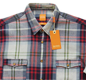 8ffc82f8e Men's HUGO BOSS ORANGE Western Plaid Flannel Shirt S Small SLIM FIT ...