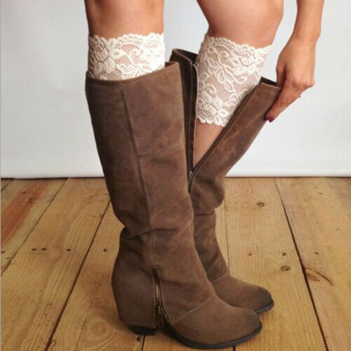 8 colors Stretch Lace Boot Cuffs Flower Leg Warmers Lace Trim Toppers Socks