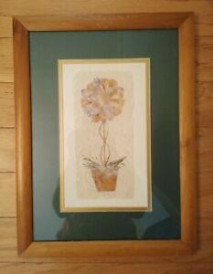 Framed and Matted Handmade Flower & Paper Wall Art. Set of 2
