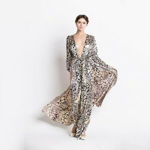 Image Is Loading Gold Metallic Leopard Print Maxi Dress Y Beach
