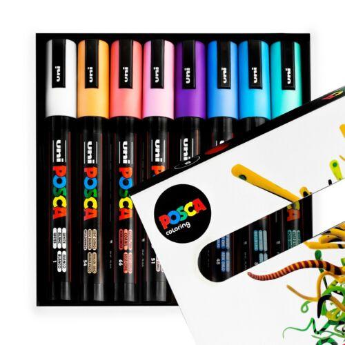 Nebula Set of 8 Pens in Gift Box Uni-Ball POSCA PC-5M Paint Marker Art Pens