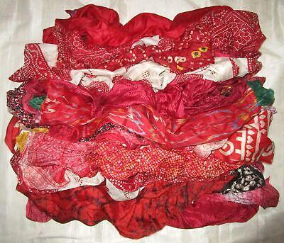 UK LOT PURE SILK Antique Vintage Sari REMNANT Fabrics 100 GRAMS Floral #ABM46