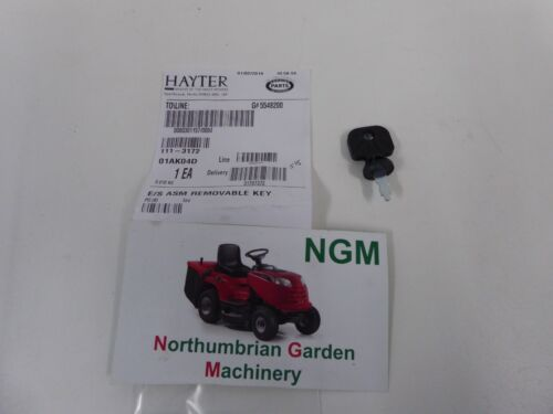 GENUINE Hayter Key Electric Start Removable 111-3172 E//S ASM Removable Key T5//5
