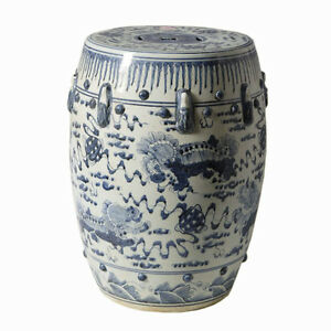 Image Is Loading Chinese Blue And White Porcelain Garden Stool Round