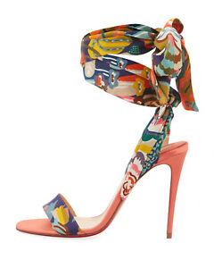 purchase cheap 6b7e8 9c97e Details about NIB Christian Louboutin Sandale Du Desert 100 Flower Silk  Sandals EU37