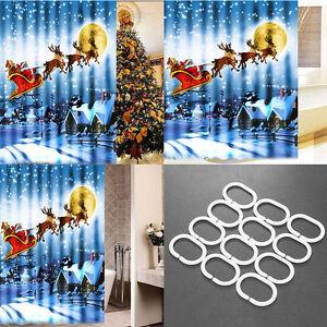 Image Is Loading Christmas Shower Curtain 180x180cm Bathroom Sleigh Tub Santa