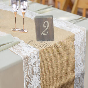 10×Burlap Hessian Lace Wedding Table Runner Vintage Rustic Country ...