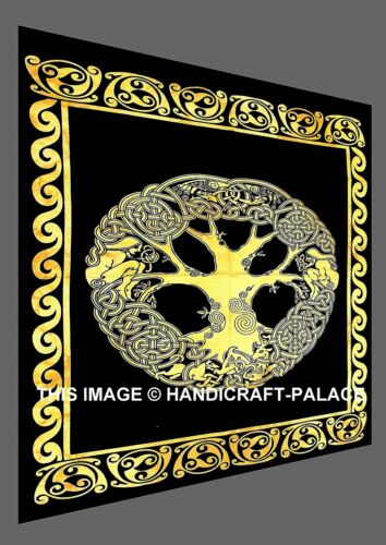 Celtic Tree of Life Cotton Hippy Decor Wall Hanging Indian Poster Black Tapestry