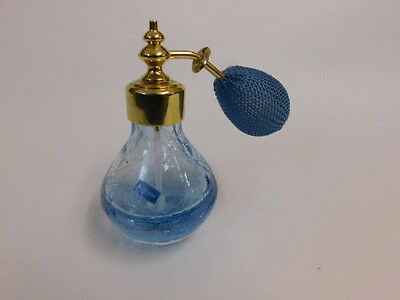 CAITHNESS PERFUME BOTTLE / ATOMISER. BLUE CRACKLE GLASS, HANDCRAFTED IN SCOTLAND