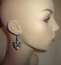New BETSEY JOHNSON Anchors Away Earrings Bow Crystal Blue White Faux Pearl Auth.