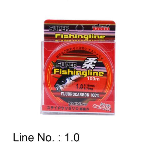 Super Strong 100/% Fluorocarbon Monofilament Nylon PA Fishing Line 0.4-8LB 100m j