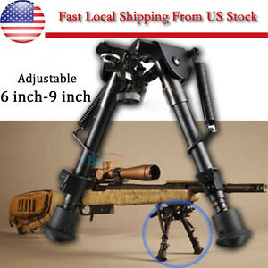 "6"" to 9"" Adjustable Spring Return Sniper Hunting Rifle Bipod -Sling Swivel"