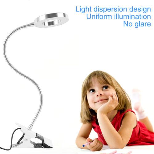 LED Desk Lamp Reading Light Flexible Usb Clip On Bed Table Eye Protection UK PF
