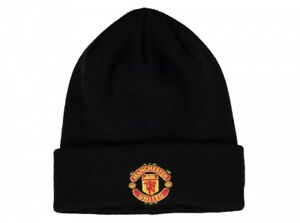 767d6010 Image is loading Official-Manchester-United-New-Era-Black-Cuff-Beanie-