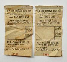 1930s Herman DeVries Cushman Colonial Creations furniture cloth material labels