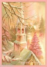 Fabric Block Chic Shabby Pink Church Christmas Postcard Pink Christmas Tree