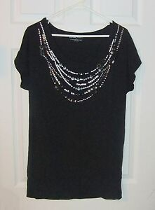 New-York-amp-Co-Sz-M-Black-Embellished-Stretch-Top-Shirt