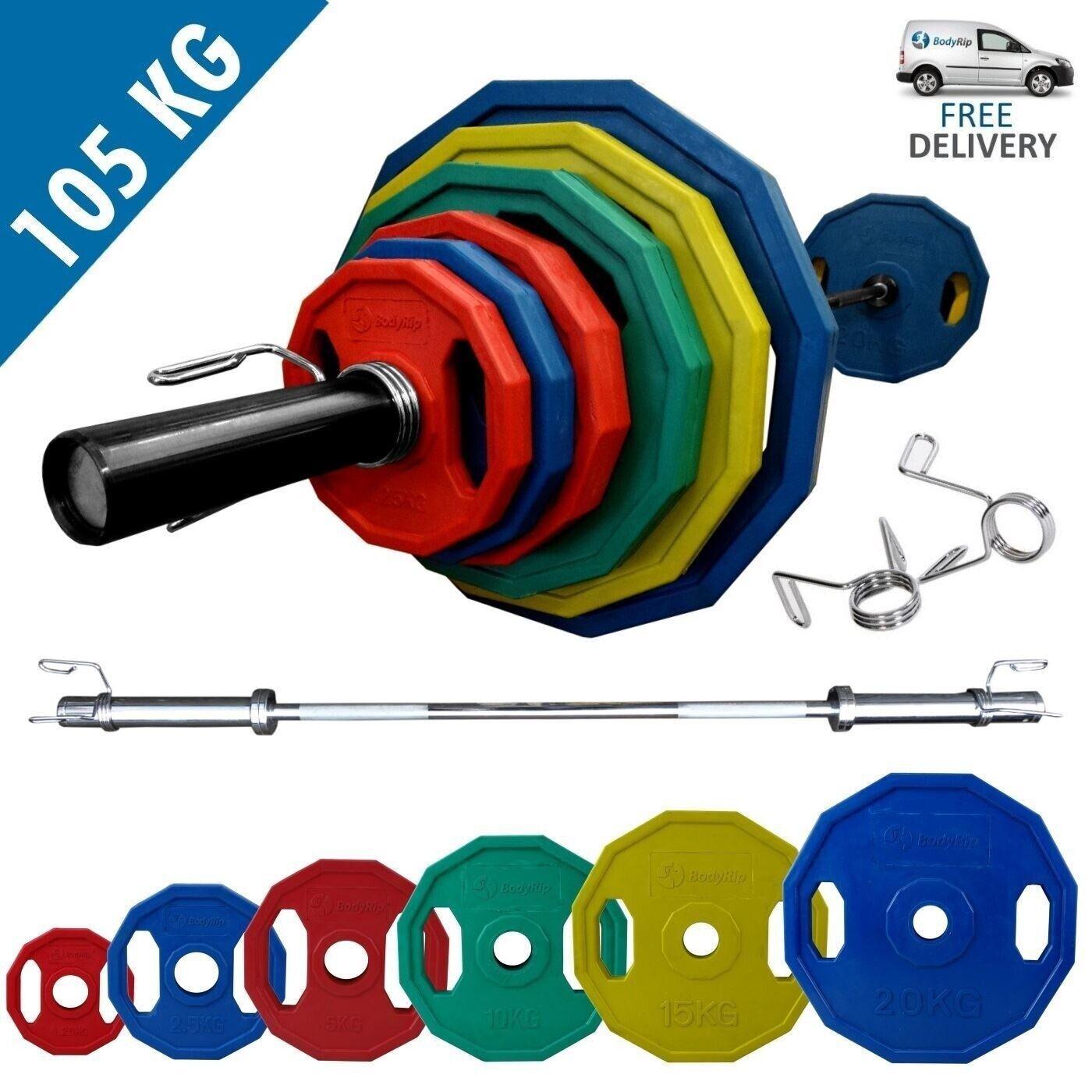 Bodyrip Poligonali Coloreeeeato Olimpico Peso Set di 105kg With 7ft Bilanciere