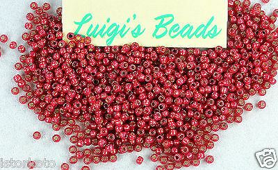 11/0 Round Toho Glass Seed Beads #2113- Silver-Lined Milky Pomegranate 10 grams