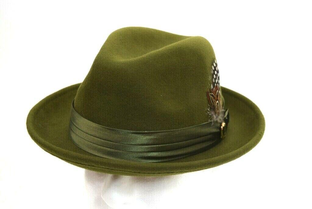 92609bc02 Men's Fedora Dress Hat Solid Olive Green UN-111 100% Australian Wool S, M,  L, XL