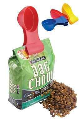 New Dog Cat Pet Food SCOOP-N-CLIP Measuring scoop Bag Clip Combo - Blue