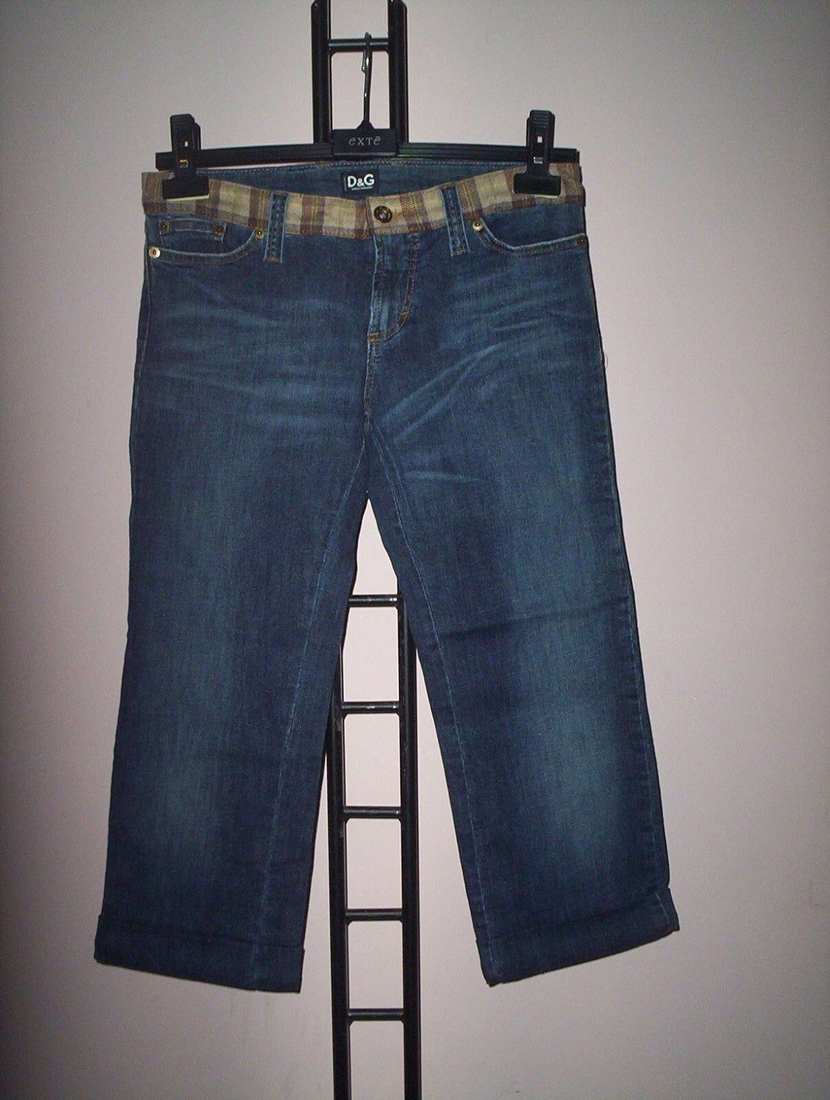 JEANS  D&G   Damens  DENIM  TG 42  FINITURE  IN  PELLE  E   SCOZZESE  CORTO