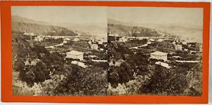 Stéréo, Italie, panorama de Pegli Vintage stereo card,  Tirage albuminé  8,5