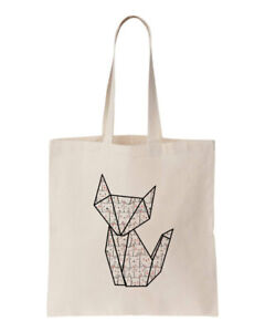 Details About 100 Cotton Pet Origami Cat Feline Pattern Eco Tote Shopping Bag 150gsm 5oz