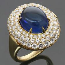 Authentic 1980s HARRY WINSTON Diamond Blue Sapphire 18k Yellow Gold Dome Ring
