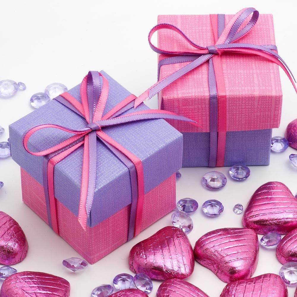 Rose vif et lilas Boîte Carrée et Couvercle Faveur Nuptiale Box-choisir quantité   Produits De Qualité