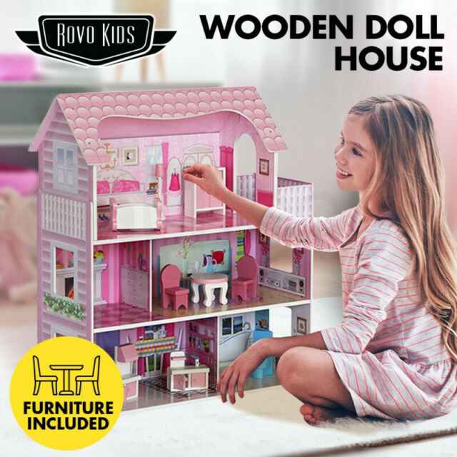 Wooden dollhouse Dollhouse with 3 floors Wood dollhouse gift for girl Fairy-tale residence Storeyed childrens play house with furniture