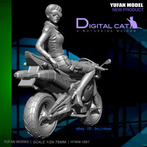 A Motorbike Maiden Unpainted Resin Model Kits 75mm 1/24 Scale YuFan