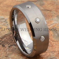 Men's Tungsten Ring Diamond Simulated Wedding Band Hot Brushed Jewelry Size 8-12