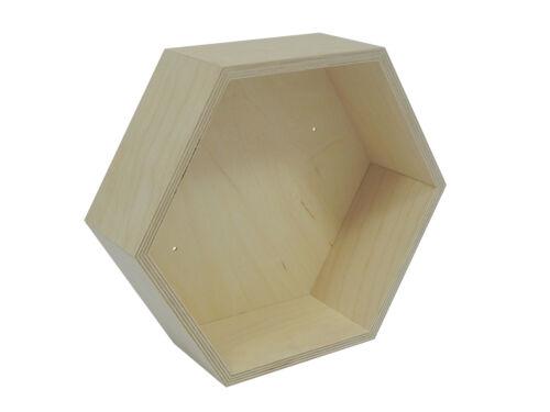 Wooden Hexagon Shelf Geometric Floating  Honeycomb Deep Handmade Shelves