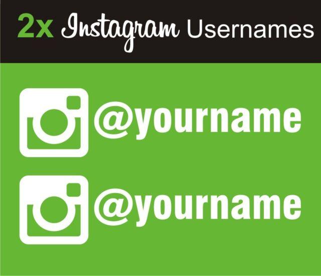Car Sticker Decal - 2 X Instagram @ Your Username Social Media Stickers