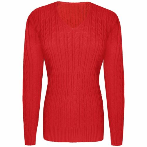 WOMENS LADIES V NECK CABLE KNITTED SWEATER LONG SLEEVE JUMPER PULLOVER TOPS 8-18