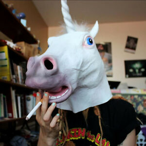 26c0fb365310 Image is loading Unicorn-Horse-Head-Mask-Halloween-Costume-Party-Prop-