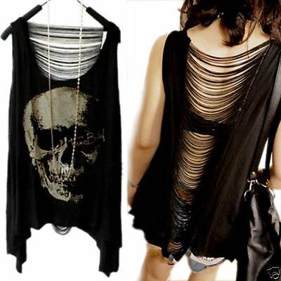 Gothic Skull Backless T Shirt Tank Vest Punk Rock Summer Singlet Tassel Blouse