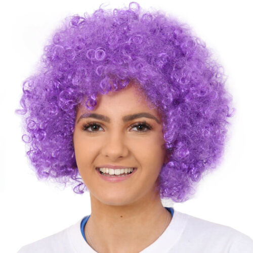 PURPLE AFRO WIG FANCY DRESS CURLY LADIES MENS HAIR 70S DISCO COSTUME ACCESSORY