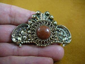 (BB310-4) Orange Goldstone stone circle scrolled flower brass brooch pin pendant