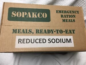 Case of 14 SOPAKCO INC. REDUCED SODIUM EMERGENCY RATION MEALS 01/25 Inspection