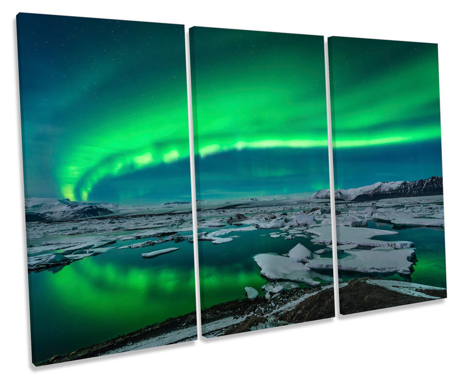 Northern Lights Space Night  TREBLE CANVAS WALL ART Box Framed Picture