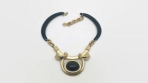 Black-amp-Gold-Tone-Choker-Style-Black-Glass-Cabochon-Necklace