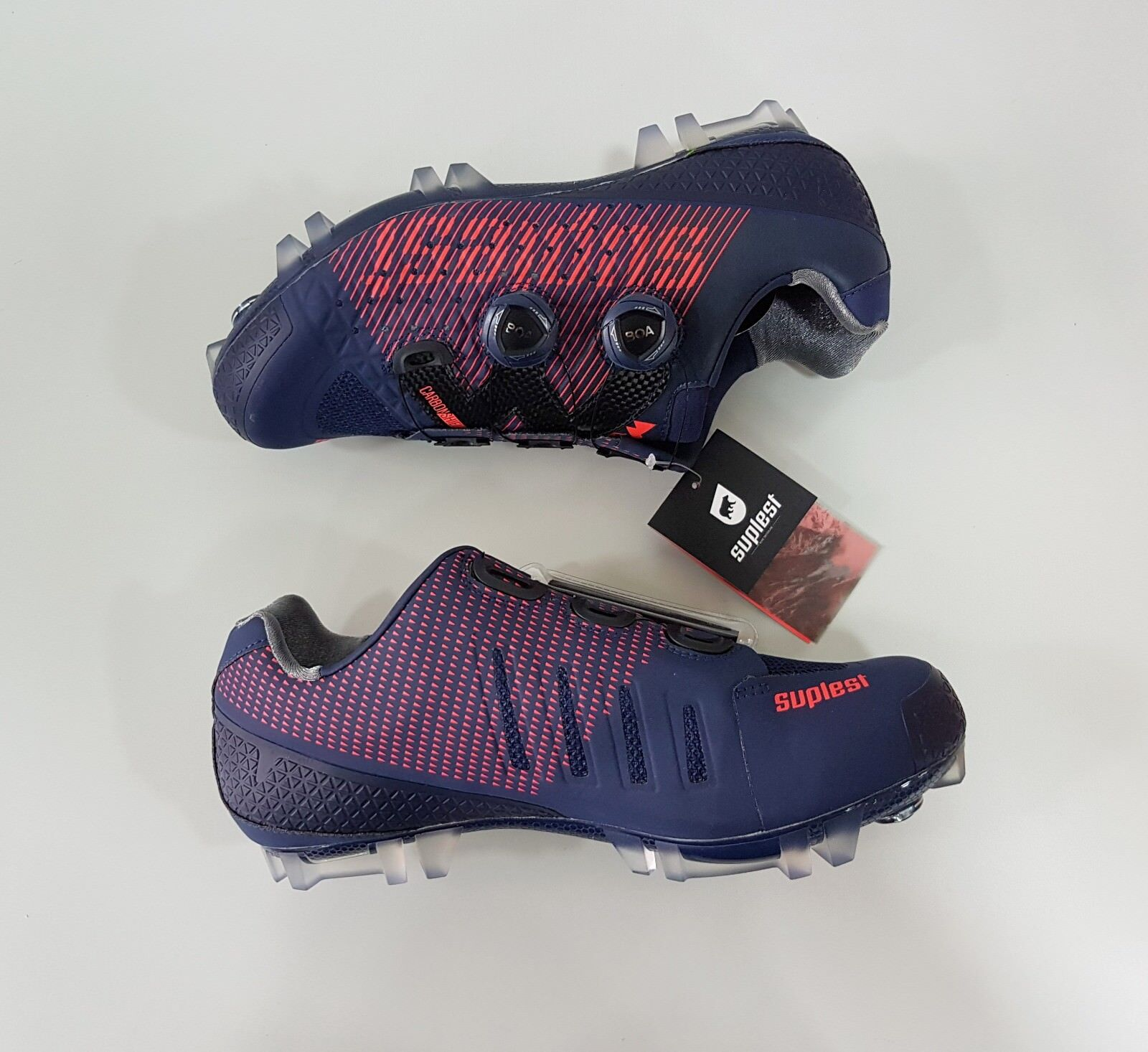 Suplest Crosscountry XC Pro Carbon Mountain  Bike MTB shoes Size 42 Navy Coral  quick answers