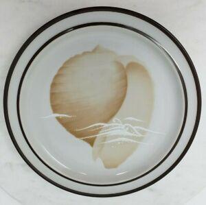 Vtg Noritake Stoneware Seaview B978 Salad Plates Seashells Brown Trim Lot of 2