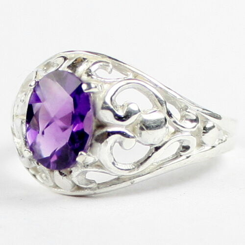 Solid 925 Sterling Silver Ladies Ring Amethyst SR111-Handmade