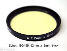 Schott GG455 52mm x 2mm Visual & Infrared Longpass Filter, Block UV and below 45
