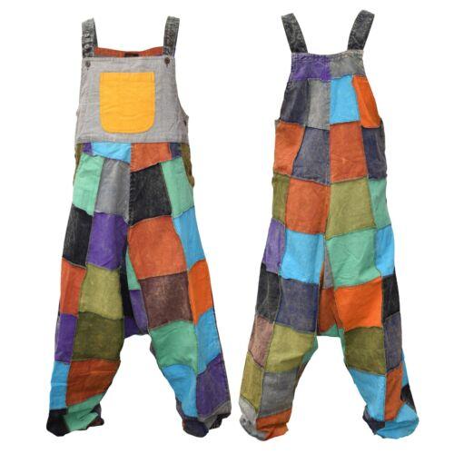 Men/'s Colorful Patchwork Cotton Light Casual Dungarees Jumpsuit