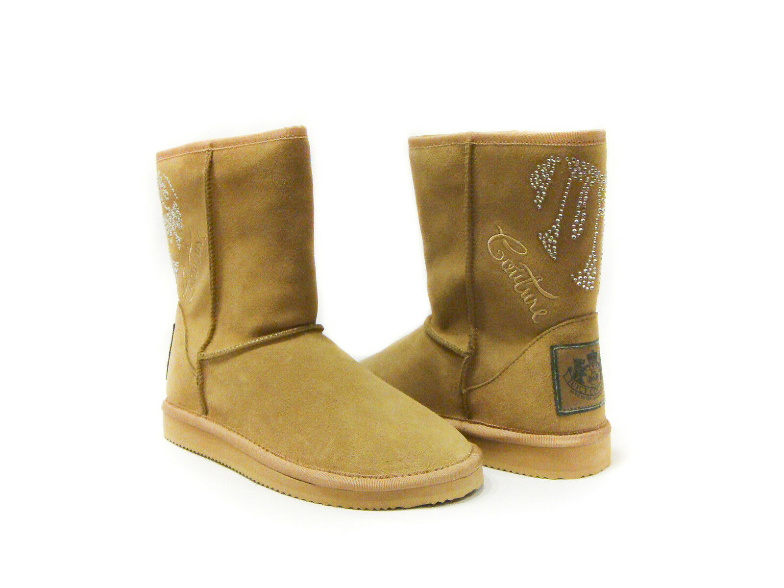 NEW in Box Juicy Couture Crystals Bling Cafe Camel Suede Orion Cozy Stivali